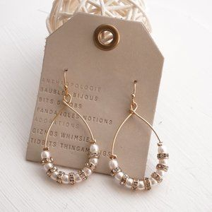 Anthropologie Pearl Crystal Hooped Drop Earrings